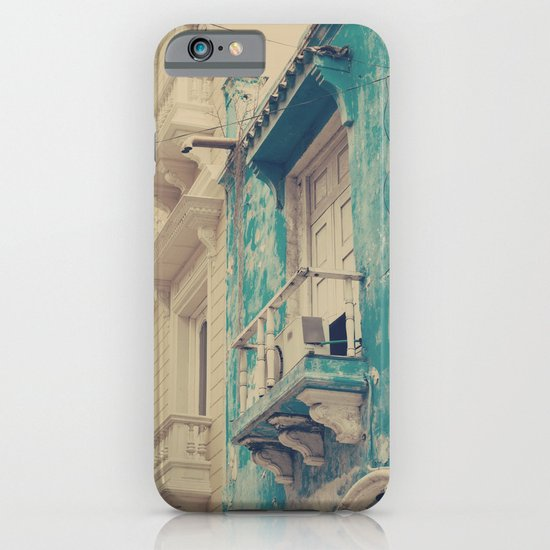 Grunge Summer Town (Retro and Vintage Urban, architecture photography, blue and cream) iPhone & iPod Case