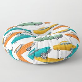Retro car in 50s style pattern Floor Pillow