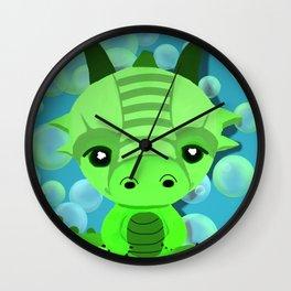 Chibi Bubble Dragon (Blue) Wall Clock