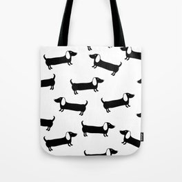 Cute dachshunds in black and white Tote Bag