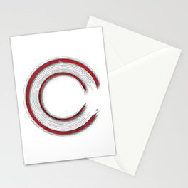 Red abstract enso circle with mystical out of space look Stationery Cards