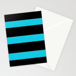 Hollywood Nights Black and Teal Stripes Stationery Cards