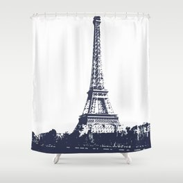 Paris Eiffel Tower cityview monochromatic Shower Curtain