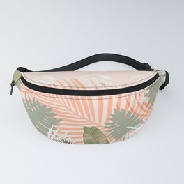 Abstract tropical plants pastel Fanny Pack