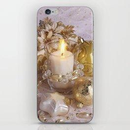 Golden christmas ball iPhone Skin