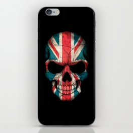 British Flag Skull on Black iPhone Skin
