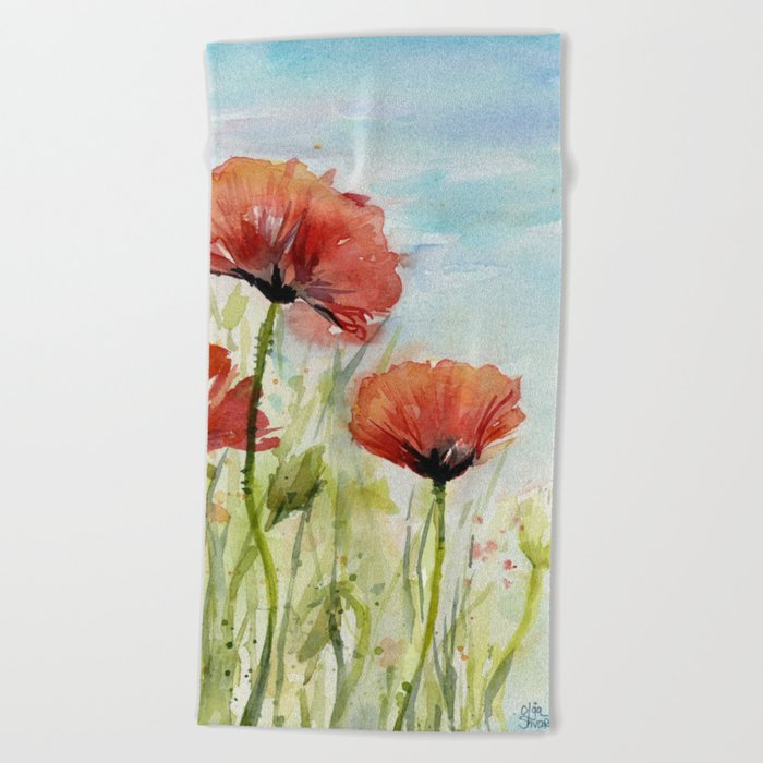 Red Flowers Watercolor Landscape Poppies Poppy Field Beach Towel