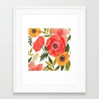 power Framed Art Prints featuring FLOWER POWER by Oana Befort