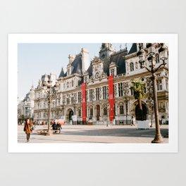 Fur Coat at Hotel de Ville - film Art Print