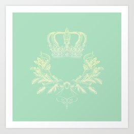 Crown Vector Mint Green Flourish Art Print