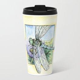 Purple Lily & Dragonfly Travel Mug