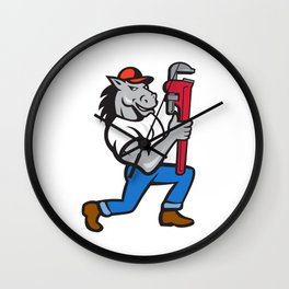 Horse Plumber Kneeling Monkey Wrench Cartoon Wall Clock