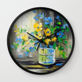 Bouquet of garden flowers Wall Clock