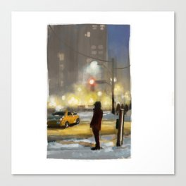 Snowy Intersection in Toront Canvas Print