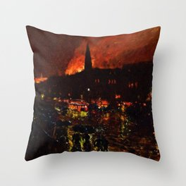 Classical Masterpiece 'Alarm Firelight - Boston' by Frederick Childe Hassam Throw Pillow