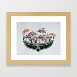 Mushroom Mandala Framed Art Print