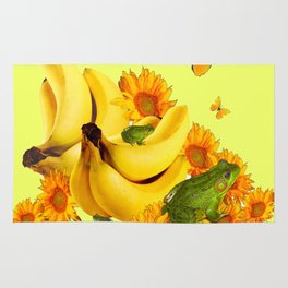 GREEN FROGS BANANAS SUNFLOWERS BUTTERFLY DESIGN Rug