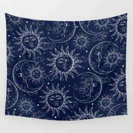 Blue Magic Celestial Sun Moon Stars Wall Tapestry
