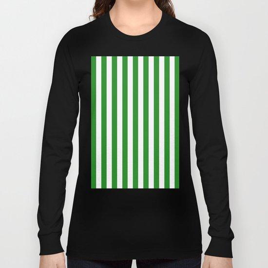 Vertical Stripes (Forest Green/White) Long Sleeve T-shirt