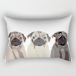 Triple Pugs Rectangular Pillow
