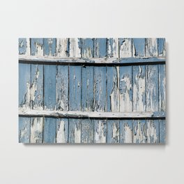Blue Paint Chipped Fence Metal Print
