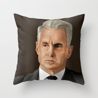 mad men Throw Pillows featuring Roger Sterling (Mad Men) by San Fernandez
