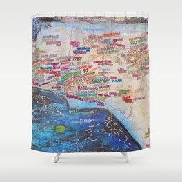 Nc beer map port city art Shower Curtain