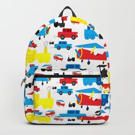 Cute Colorful Planes, Trains and Cars Pattern Backpack