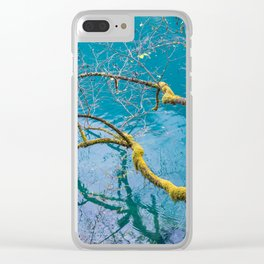 Amazing colors of mossy tree and deep lake at Jiuzhaigou Park Clear iPhone Case