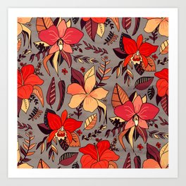 Red Tropical Floral Art Print