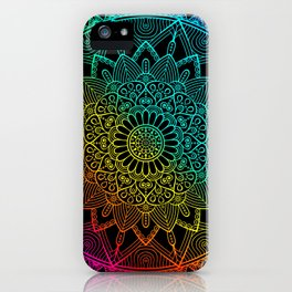Black Rainbow Mandala Doodle iPhone Case