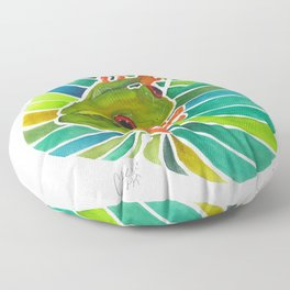 Frog On A Leaf Floor Pillow