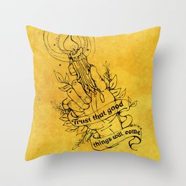 Candle Light Hope (Yellow Colors) Throw Pillow