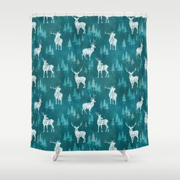 Ice Forest Deer Turquoise Shower Curtain