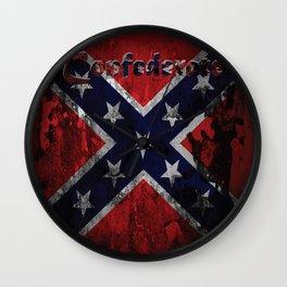 Distressed Confederate Flag Wall Clock