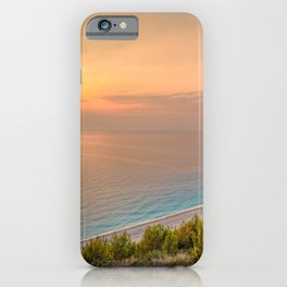 The sunset at the beach Mylos in Lefkada, Greece iPhone Case