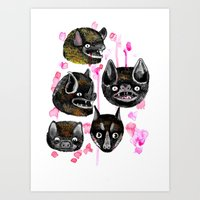 bats Art Prints featuring bats by Krissy Mmmm