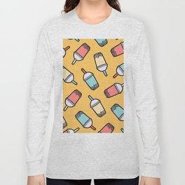 Bubble Tea Gold Pattern Long Sleeve T-shirt