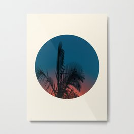 Pink & Blue Sunset With Palm Tree Silhouette Metal Print