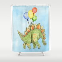dinosaurs Shower Curtains featuring Dinosaurs 2 by Hannah Botma