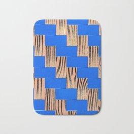 Blue and Gold Twill Bath Mat