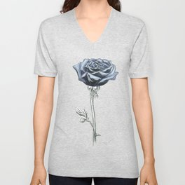 Rose 03b Botanical Flower * Blue Black Rose Unisex V-Neck