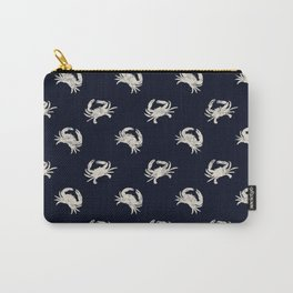 Navy blue maritime sea crab crabs shrimps pattern Carry-All Pouch