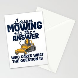 Lawn Mowing Is The Answer Funny Gardening Quote Gift Mower  Stationery Cards