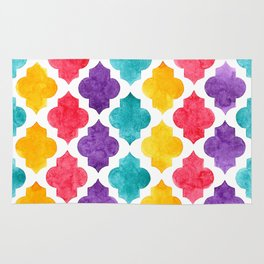 Colorful quatrefoil pattern in watercolor Rug