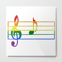 Rainbow Flag Musical Note 'A Metal Print