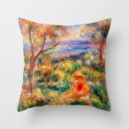 Pierre-Auguste Renoir - Seated Woman With Sea In The Distance - Digital Remastered Edition Throw Pillow