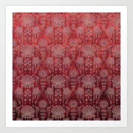 Victorian Potpourri - Faded Splendor Damask - RUBY Art Print