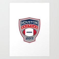 Houston 2017 American Football Big Game Crest Retro Art Print