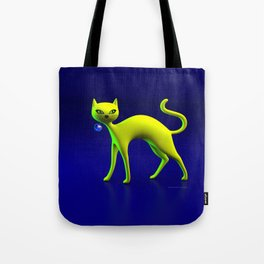 The Yellow Cat And Glass Blue Cherry Tote Bag